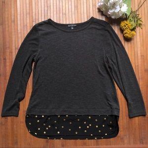J. Crew Mercantile Gray Sweater w/ Gold PolkaDots